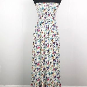 Lulus Smocked Tube Top Fit and Flare floral dress